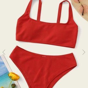 Red Knit Top Bikini Set With High Waist SHEIN M